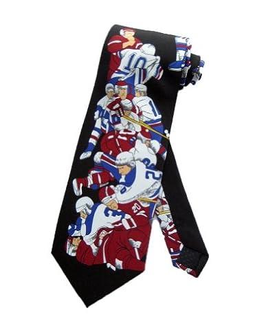Parquet Mens Fighting Hockey Players Necktie - Black - One Size Neck Tie