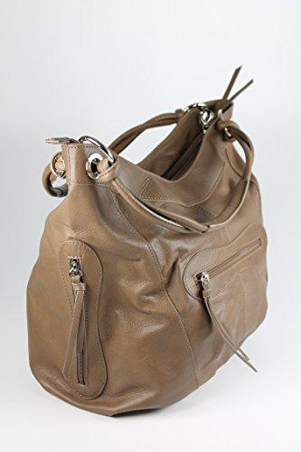 BELLI ital. Nappa Leder Shopper Handtasche Damentasche - Farbauswahl - 35x31(mittig)x17 cm (B x H x T) schlamm taupe