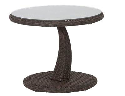 Siena Garden 673056 Beistelltisch Rio, Ø50cm Aluminium-Gestell Gardino®-Geflecht maron Glasplatte klar