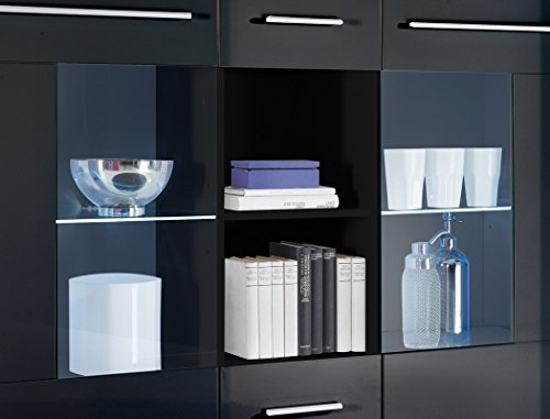 Highboard Spiros 137x121x40 cm schwarz Hochglanz LED-Beleuchtung Glaskantenbeleuchtung Wohnzimmerschrank Sideboard Hochschrank - 2