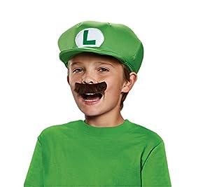 Super Mario 13372-Gorra y bigote Luigi para niños, verde, talla única