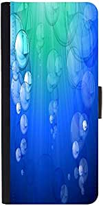 Snoogg Blue Bubble Vector Background Designer Protective Phone Flip Case Cover For Lenovo Vibe X3