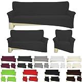 Nurtextil24 Sofahussen Bi-elastisch Jersey 10 Farben und 3 Größen Baumwolle Anthrazit für 2er Sofa