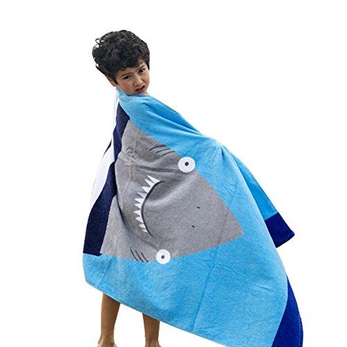 VLENIEN Kinder Erwachsene Karikatur Strand Handtuch Baumwolle Bad Handtuch Haus Reise-Decke(Schwimmbadhai) (Große Dicke Handtücher)