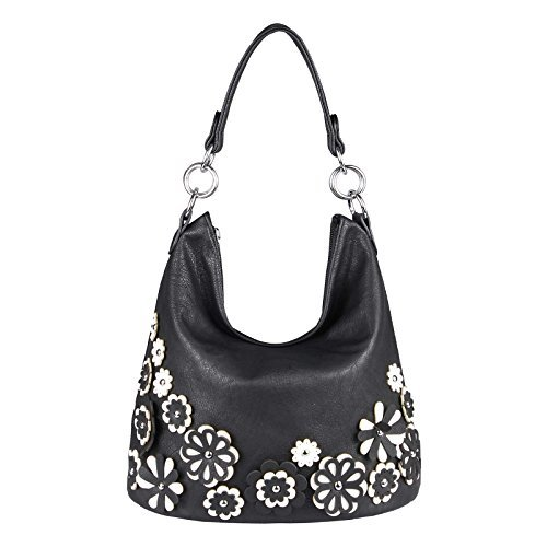 ital-design Damen Blumen Tasche Shopper Hobo-Bag Beuteltasche CrossOver Henkeltasche Handtasche Schultertasche Umhängetasche (Schwarz 36x27x20 cm) (Designer-handtasche Blume)