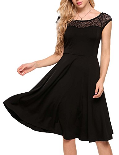 Meaneor Damen Elegant Brautjungfernkleid Knielang Festliche Kleider A Linie Spitze Rockabilly Cocktail Sommer Party Kleid -