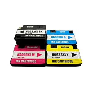 4 alternative ink cartridges for HP Officejet 6100 e-Printer 6600 replaced HP 932XL and HP 933XL