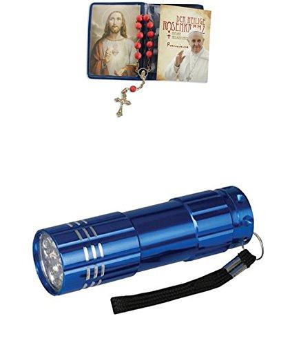 Zisaline-Kombi Heiliger Rosenkranz im Etui Papst Franziskus 7,5 x 5,5 cm (951988319234771) mit LED Alu Taschenlampe