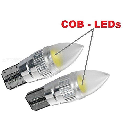 COB LED - 2 x T10 Tête pointue (1) Veilleuse voiture auto 2 ampoules LED Xénon Blanc pour voiture 12 V INION®