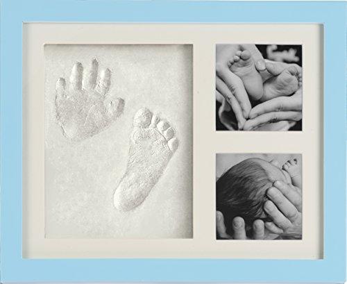 Baby Bilderrahmen für Handabdruck & Fußabdruck | Geschenk zur Geburt Neugeborene Andenken Taufe Babyabdruck Babyrahmen Taufgeschenk Junge Hand Foot Print