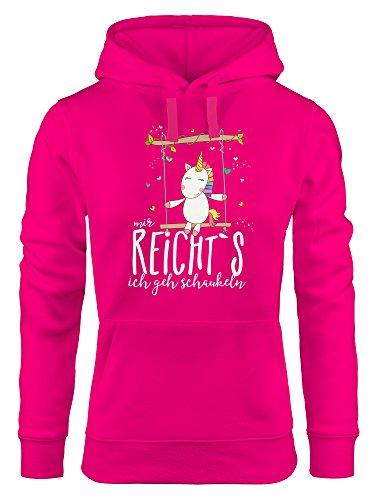MoonWorks Damen Kapuzen-Pullover Hoodie Einhorn auf Schaukel Mir reicht`s ich GEH Schaukeln Spruch pink S