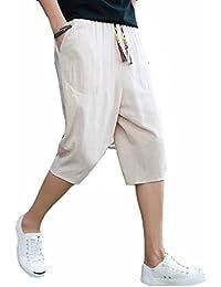 a946b65768 TieNew Men's Linen Cropped Trousers Breathable Casual Pants Trousers  Elastic Waist Drawstring, Men Harem Trousers
