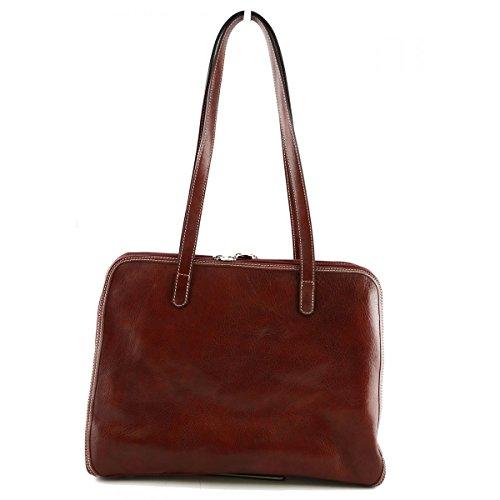 Dream Leather Bags Made in Italy Cuir Véritable Sac Porté Épaule Avec 3 Compartiments Couleur Rouge - Maroquinerie Fait En Italie - Sac Femme