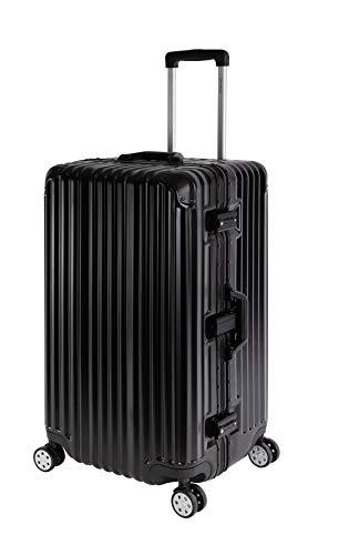 Travelhouse London Koffer Sport schwarz - XL Alu Rahmen Polykarbonat Hartschale · Trolley Reisekoffer Reisegepäck · 2X TSA Zahlenschloss · 4 Doppelräder · 360°Rollen · Vol. 110L