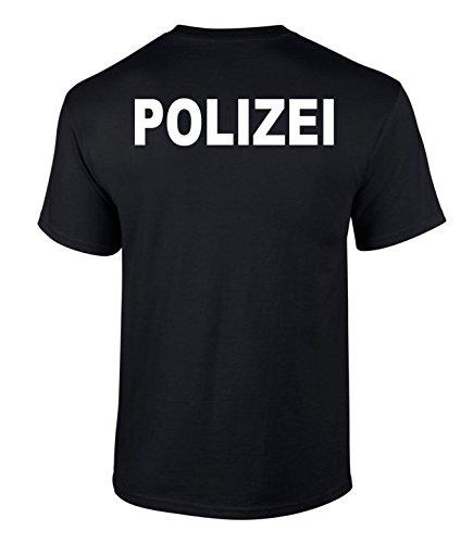 SachenOnlineKaufen T-Shirt Polizei Druck Verschiedene Farben beidseitiger Druck Schwarz M
