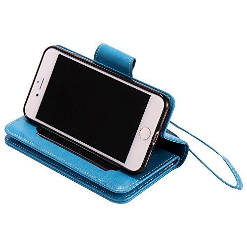 iPhone 8 Hülle , Camiter Roségold Schönheit Mädchen Design Leder pu Magnetverschluss Wallet Case Schutzhülle Standfunktion Handytasche Hülle mit 9 Karteneinschub /Trageschlaufe und Spiegel für Apple i 9card blau