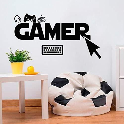 jiuyaomai Herr Frau Wandaufkleber Gamer Wählen Klicken Controller Video Spiel Tastatur Jungen Spielzimmer Vinyl Wohnzimmer Schlafzimmer Wohnkultur DIY Wand Sticker57X107Cm
