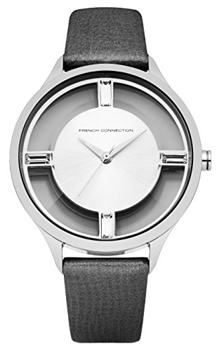 French Connection FC1233B - Reloj para mujeres, correa de cuero color negro