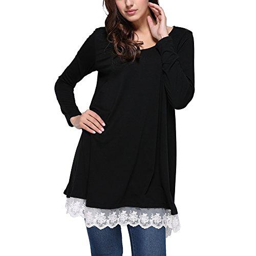 Lover-Beauty Damen Langarm T-Shirt Frauen Sweatshirt Rundkragen Hemden Blouse Schwarz