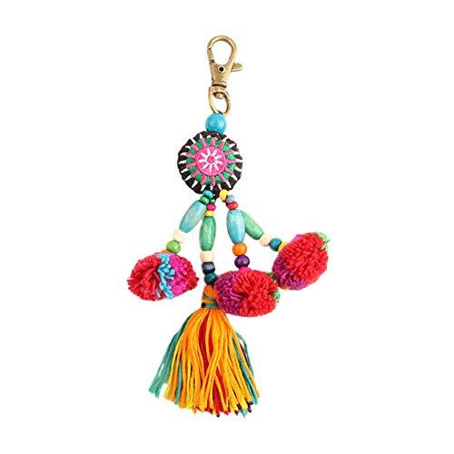 Nowbetter Pom Pom Quaste Schlüsselanhänger Faden Perlen Fransen Anhänger Schlüsselanhänger Bälle Auto Tasche Charm Ornamente für Frauen Damen Mädchen - bunt - Tasche Bohemian-tasche