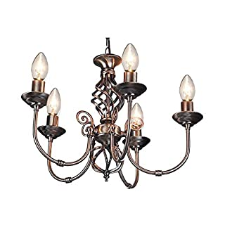 5 Light Antique Brass Classic Knot Twist Chandelier Ceiling Light Fitting
