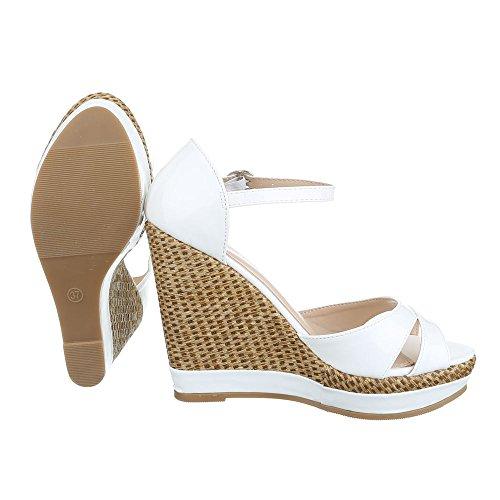 Keilsandaletten Damen Schuhe Plateau Keilabsatz/ Wedge Keilabsatz Schnalle Ital-Design Sandalen / Sandaletten Weiß