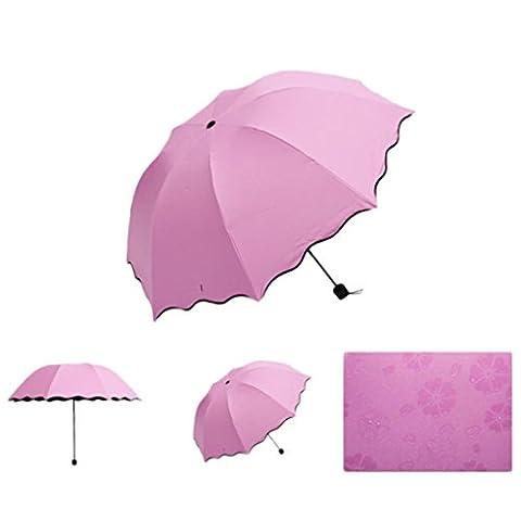 Kanpola Neuer Sun / Rain Faltender Regenschirm für Dame Princess Magic Flowers Dome Sonnenschirm Wasserdicht Winddicht (Rosa)