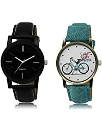 The Shopoholic Black White Combo New Collection Black And White Dial Analog Watch For Boys And Girls Watch Belt