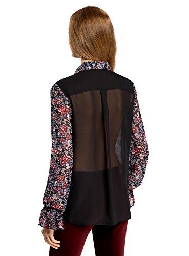 oodji Ultra Damen Kombinierte Bluse mit Ausgefallenen Manschetten Schwarz (294AF)