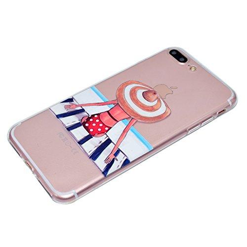 iPhone 7 Plus Coque, Voguecase TPU avec Absorption de Choc, Etui Silicone Souple Transparent, Légère / Ajustement Parfait Coque Shell Housse Cover pour Apple iPhone 7 Plus 5.5 (Fille à pois)+ Gratuit  Fille à pois