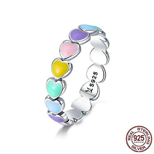 ZHOUYF RING Verlobungsringe Authentische 925 Sterling Silber Stapelbar Regenbogen Herz Fingerringe Für Frauen Hochzeit Verlobungsring Schmuck Anel, 6#