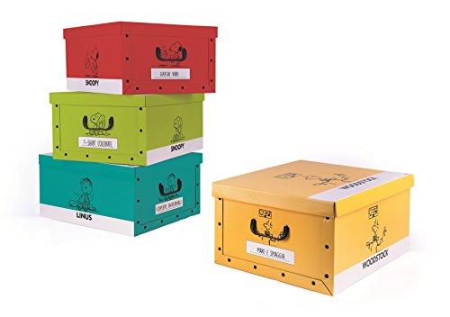 Excelsa peanuts set 4 scatole portaoggetti multiuso, cartone, multicolore, 40 x 50 x h. 25 cm 4 unità