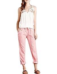 Pantacourt Femme,Fluide Confortable Ample Pantalon Longueur Léger Cordon  Élastique Sport Yoga Pants Bringbring 1ec3b0a11a99