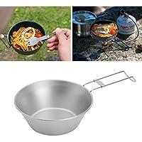Picknick platzsparend Heaviesk Edelstahl-Sch/üssel mit klappbarem Griff f/ür Outdoor-Camping Faltbare Sch/üssel tragbares Kochgeschirr