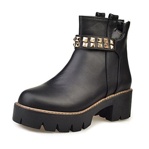 AgooLar Damen Mittler Absatz Weiches Material Niedrig-Spitze Rein Reißverschluss Stiefel Schwarz