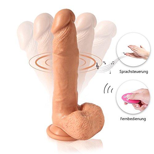Lukesha Realistische Dildo Vibratoren mit Fernbedienung & Sprachsteuerung, Medizinischem Silikon Real Dong Penis mit Starkem Saugnapf, Naturdildo Sexspielzeug für Frauen (21 * 3.8 cm)