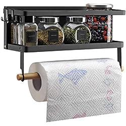 VIAVDesign Magnétique Réfrigérateur Côté Rack, étagère de rangement magnétique à fixation murale, étagère à épices Idéal pour Cuisine, porte-serviettes en papier 32 x 12 x 20 cm