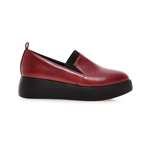 AllhqFashion Femme Pu Cuir Couleur Unie Tire Pointu à Talon Correct Chaussures Légeres Rouge Vineux