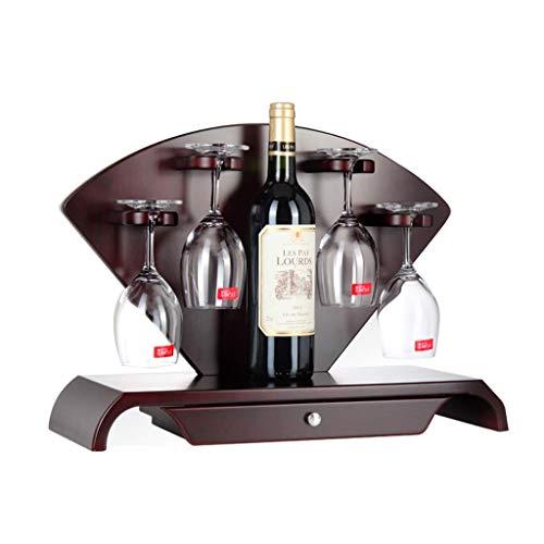 xczdf Weinregal, Weinschmuck kann auf den Kopf gestellt werden Wine Glass Bar Dekoration, 48 * 18 * 37Cm, 1 Weinflasche 4 Tassen - 2 Schubladen Zeitgenössischer Schrank