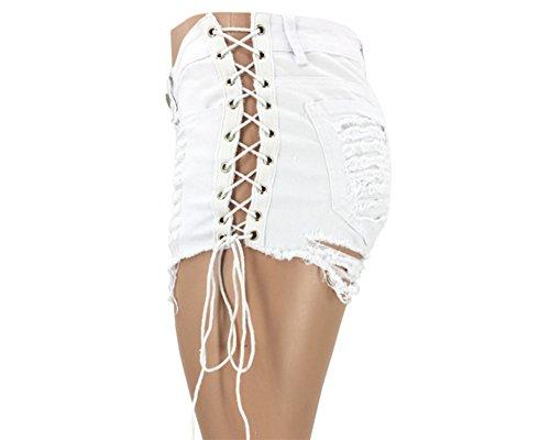 Casual Denim Shorts Bar Pantalon de danse Ball (S-XL) Blanc