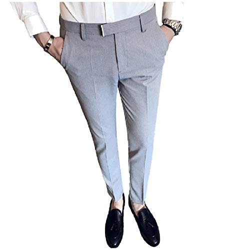 CuteRose Men's Relaxed Fit Stripe Flat Front Slimming Plain-Front Pants Light Grey 30 (Dockers Flat Relaxed Front Fit)