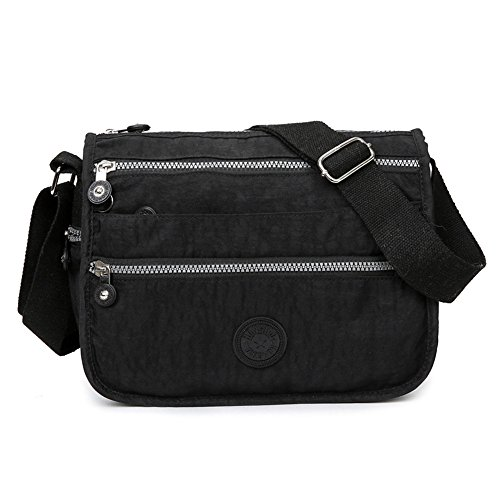 Womens Nylon/Fabric Multi Zip Pockets Lightweight Cross Body Shoulder Messenger Bag , Casual Handbag Travel Bag (Black)
