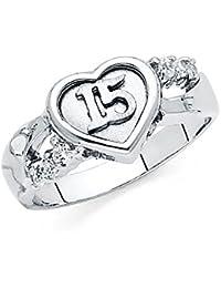 Quinceañera 14 K Corazón De Oro Blanco circonitas cúbicas anillo