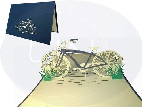 Lin Carte de vœux Pop Up 3D Motif Vélo bleu