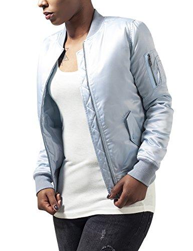 Urban Classics Ladies Satin Bomber Jacket, Blouson Femme Bleu - Blau (babyblue 790)