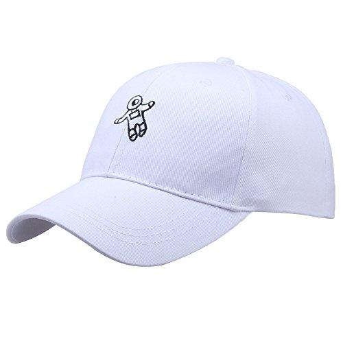 Junjie der Hut die Kappe Unisex-Mode-Hut-Astronaut bestickte Baseball-Mütze Kappe Schwarz Hat Cap Rosa Weiß Beige