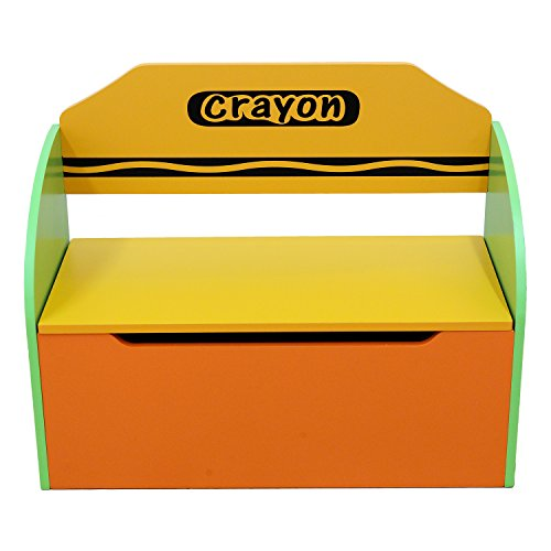 Image of Bebe Style Childrens Wooden Toy Storage Box and Bench (Crayon Themed)