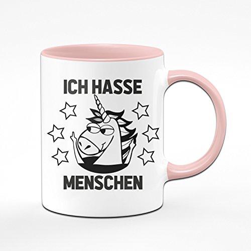 Einhorn Tasse Ich Hasse Menschen - Kaffeetasse in rosa - witzige Tassen mit Sprüchen - lustige Tasse - Geschenk für Kollegin - pink