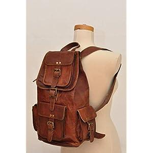 Handgefertigte Vintage Unisex aus reinem Leder Rucksack Bookbag Wanderrucksack | Reisen Outdoor Schultasche Daypack | Mit Kostenlosem Versand