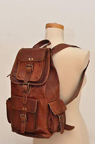 Handgefertigte Vintage Unisex aus reinem Leder Rucksack Bookbag Wanderrucksack | Reisen Outdoor Schultasche Daypack | Mit Kostenlosem Versand - Handgefertigtes Leder-rucksäcke